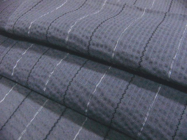少し透ける 綿・麻 変り織生地 織の男ゆかた Lサイズ グレー・白黒色縞 新品_画像5