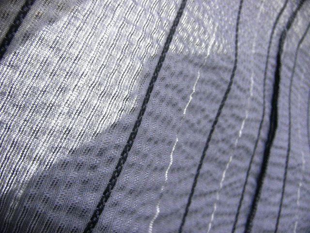 少し透ける 綿・麻 変り織生地 織の男ゆかた Lサイズ グレー・白黒色縞 新品_画像7