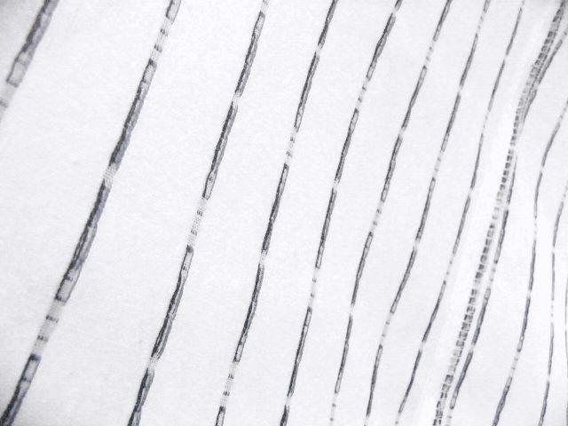 少し透ける 綿・麻 変り織生地 織の男ゆかた Lサイズ 白・太縞 新品_画像6