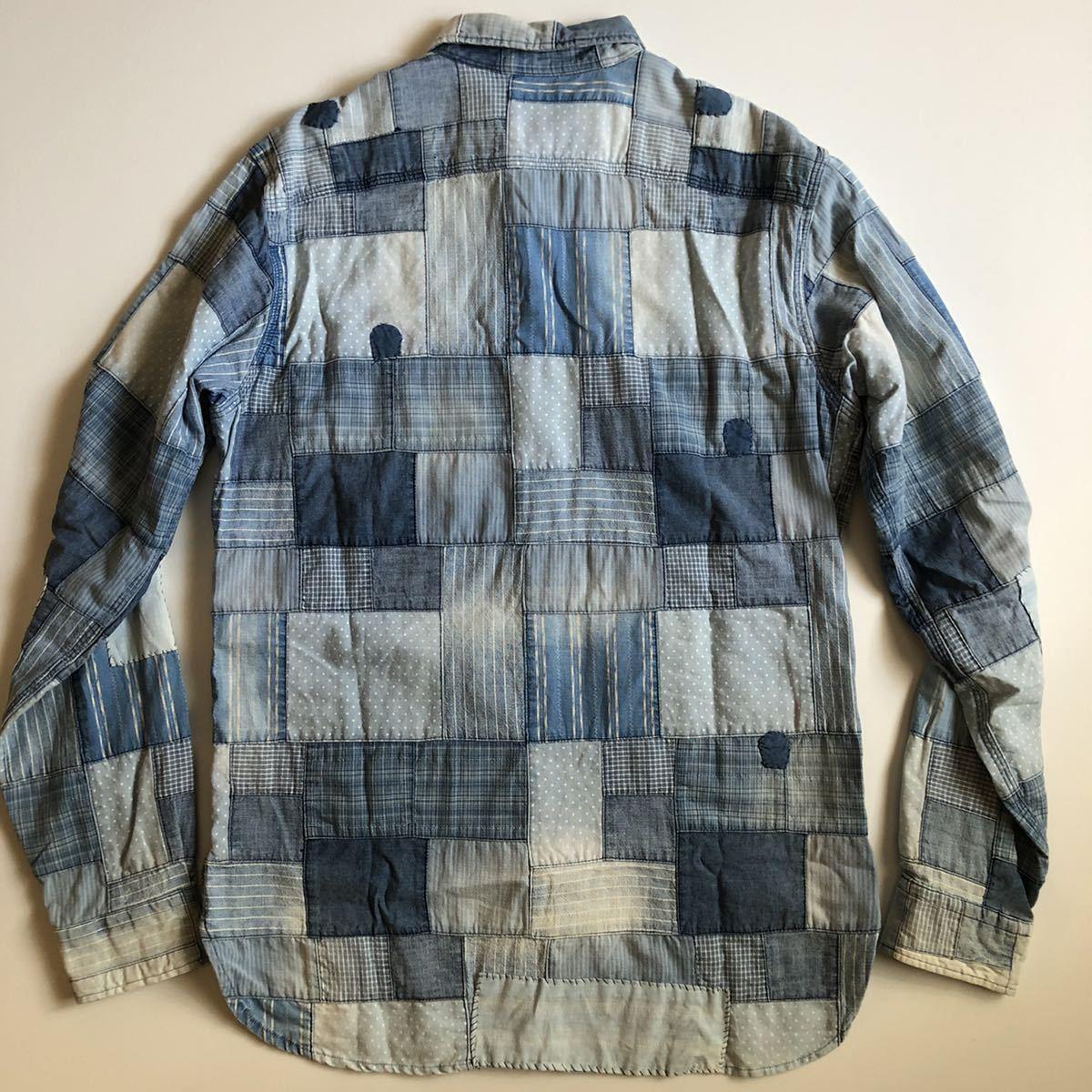 """【希少】Polo by Ralph Lauren """"Patchwork Shirt"""" パッチワーク シャツ インディゴ ポロ ラルフ ローレン RRL S_画像3"""