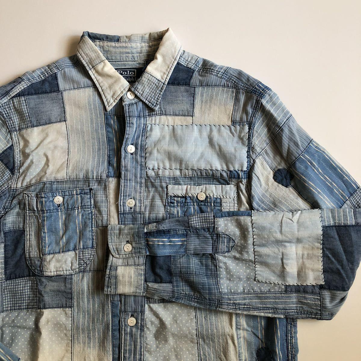 """【希少】Polo by Ralph Lauren """"Patchwork Shirt"""" パッチワーク シャツ インディゴ ポロ ラルフ ローレン RRL S_画像1"""