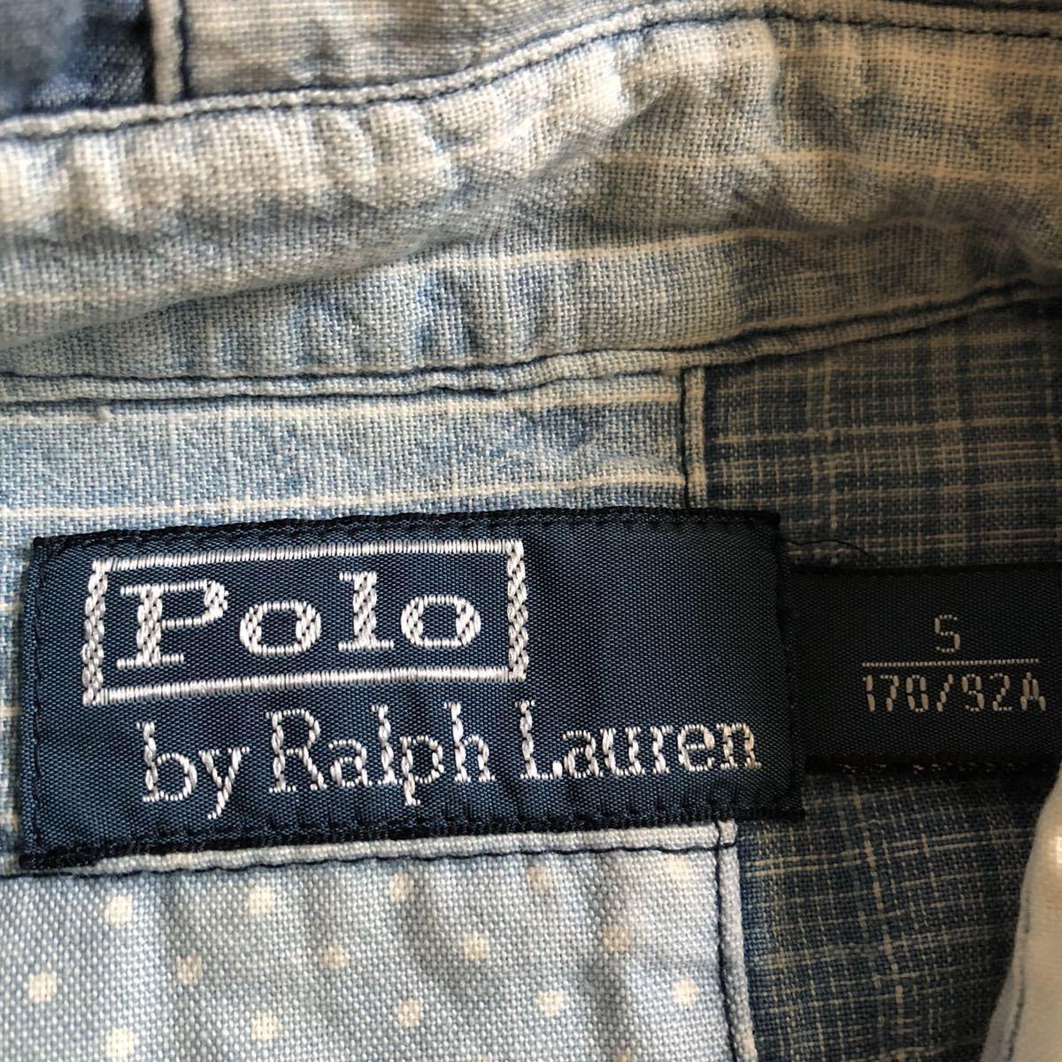 """【希少】Polo by Ralph Lauren """"Patchwork Shirt"""" パッチワーク シャツ インディゴ ポロ ラルフ ローレン RRL S_画像5"""