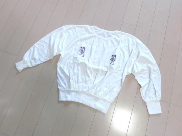 大きいサイズ 長袖 カットソー ラグラン袖 刺しゅう入り ミニポケット