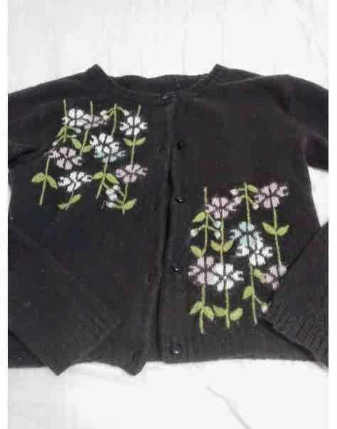 人気 可愛い 花柄 カーディガン ニット ショート丈 ブラウン 焦げ茶 フラワー