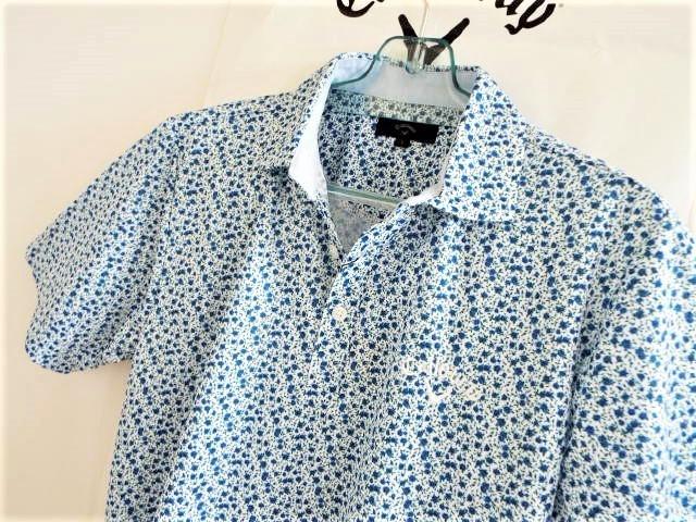 ◎新品◎Callaway キャロウェイ / フラワー総柄 プリントマルチカラー プルオーバーシャツ DRY?UPF / サイズL