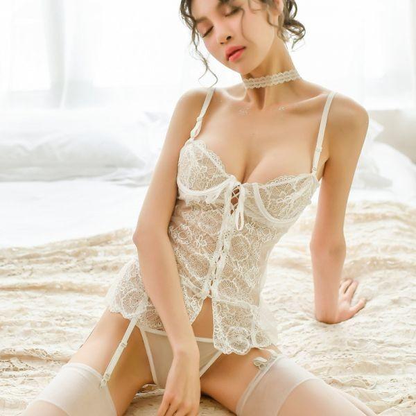 W387白 セクシーランジェリー ベビードール コスプレキャミソール スリップ 部屋着 可愛いコスプレ衣装 メイド服 _画像3
