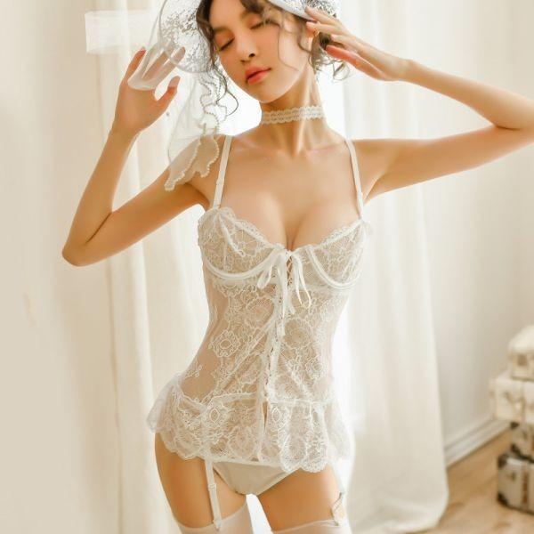 W387白 セクシーランジェリー ベビードール コスプレキャミソール スリップ 部屋着 可愛いコスプレ衣装 メイド服 _画像1