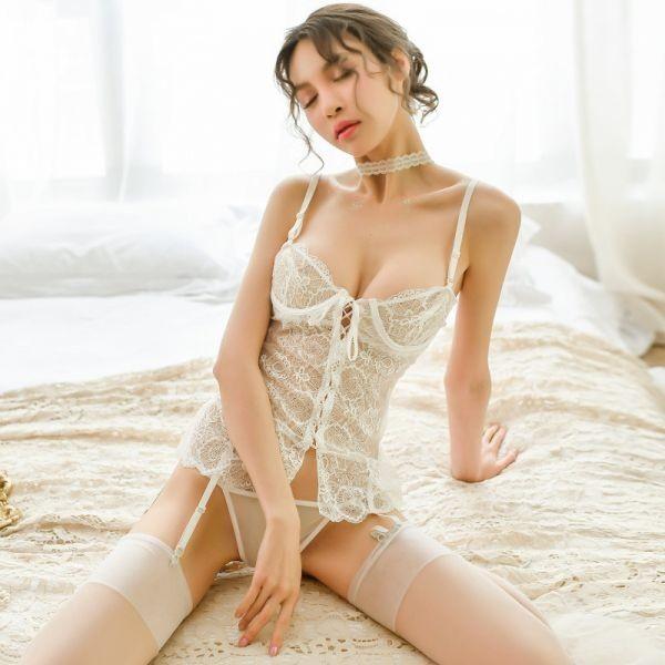 W387白 セクシーランジェリー ベビードール コスプレキャミソール スリップ 部屋着 可愛いコスプレ衣装 メイド服 _画像5