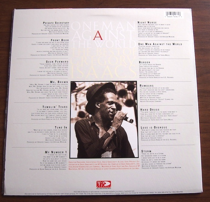 【LP】Gregory Isaacs / One Man Against The World (The Best Of Gregory Isaacs)_画像2