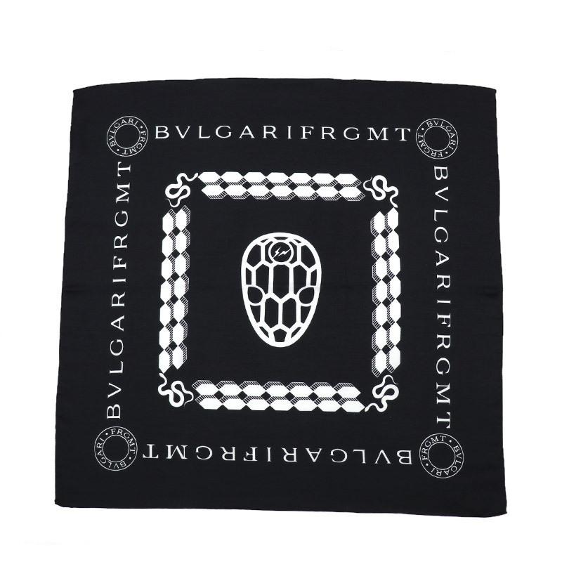 ★ 【中古】 【未使用品】 BVLGARI × FRAGMENT by Hiroshi Fujiwara セルペンティ FRGMT バンダナ スカーフ ブラック