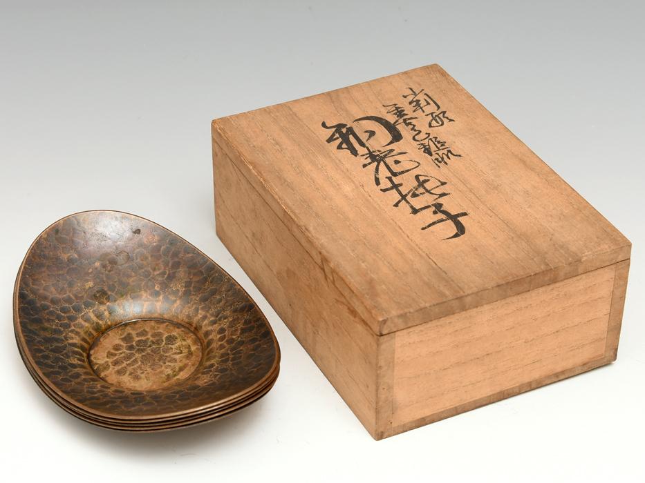 玉川堂(製) 小判形 茶托5客 鎚起銅器 托子 共箱 打出し 総重量:564g 煎茶道具 金属工芸 美品 b8150e_画像2