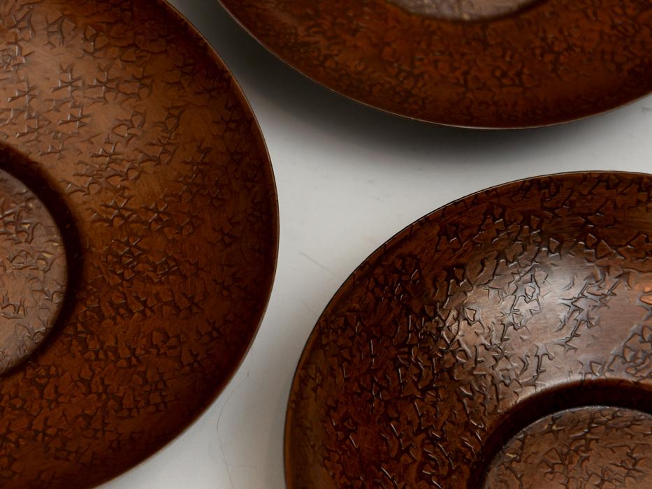 茶托 円式 5客 銅製 唐銅 鎚起銅器 托子 打出し 総重量:246g 煎茶道具 金属工芸 美品 b8155e_画像4