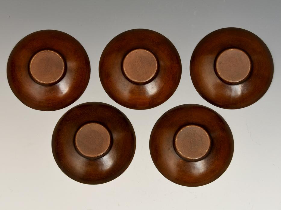 茶托 円式 5客 銅製 唐銅 鎚起銅器 托子 打出し 総重量:246g 煎茶道具 金属工芸 美品 b8155e_画像6