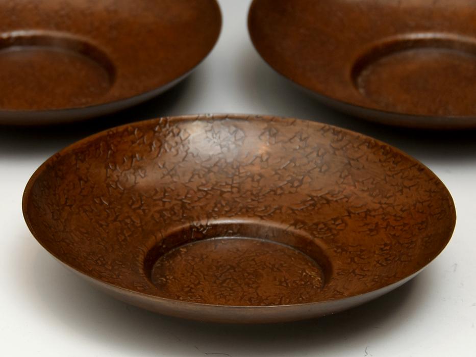 茶托 円式 5客 銅製 唐銅 鎚起銅器 托子 打出し 総重量:246g 煎茶道具 金属工芸 美品 b8155e_画像2