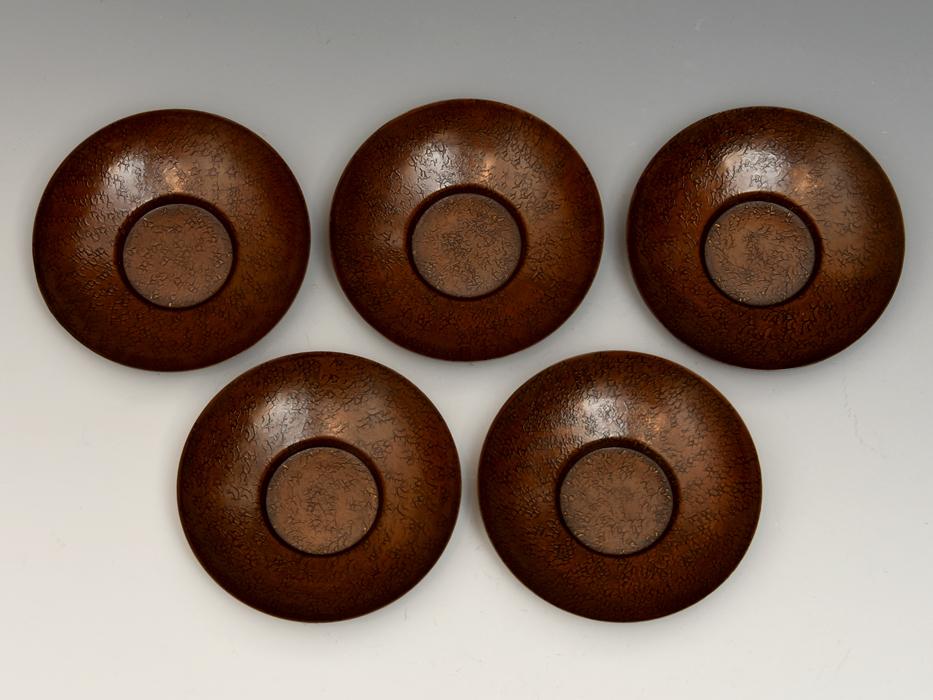 茶托 円式 5客 銅製 唐銅 鎚起銅器 托子 打出し 総重量:246g 煎茶道具 金属工芸 美品 b8155e_画像5