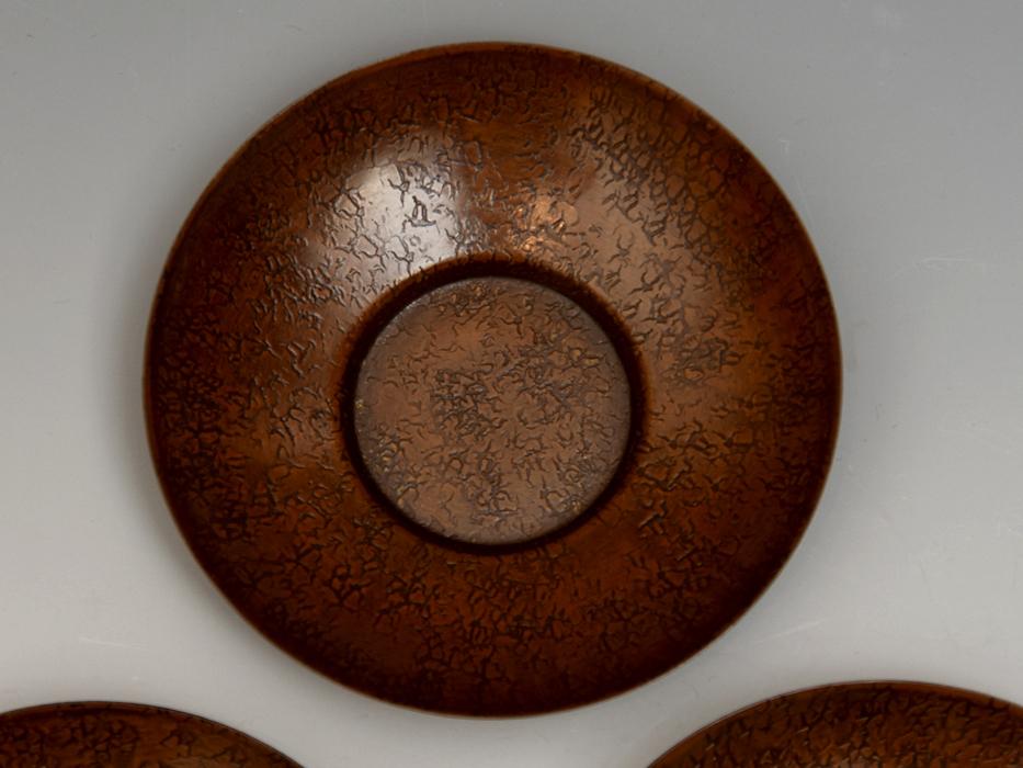茶托 円式 5客 銅製 唐銅 鎚起銅器 托子 打出し 総重量:246g 煎茶道具 金属工芸 美品 b8155e_画像3