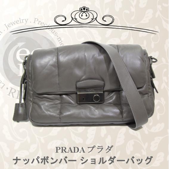 Prada PRADA Nappa Bomber Shoulder Bag Diagonal Gray Leather Bag, Bag & Prada General & Shoulder Bag