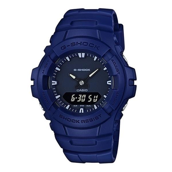 【海外モデル】カシオ G-SHOCK Gショック ジーショック 時計 メンズ 腕時計 強い耐久性 防水 多機能 アナデジ ブルー 青 G-100CU-2A_画像1