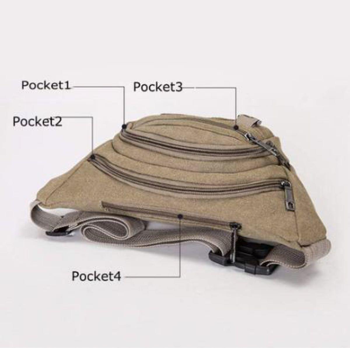 多機能 ポーチ ウエストポーチ ウエストバッグ ボディバッグ 肩掛け 4ポケット