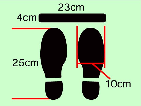 人の間隔 足型ステッカー 足型シール レジ待機列のライン表示3足分セット1980円送料込 18*+_画像3