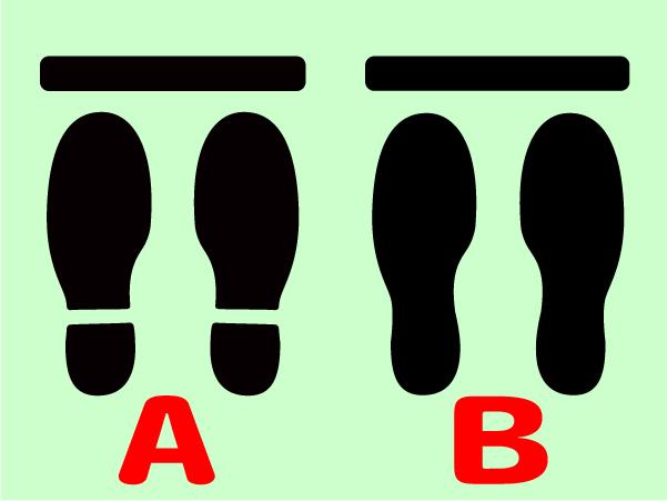 人の間隔 足型ステッカー 足型シール レジ待機列のライン表示3足分セット1980円送料込 18*+_画像4