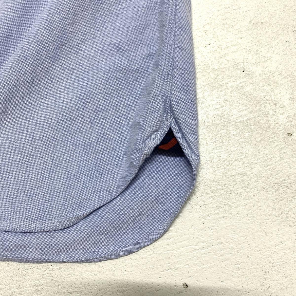 ラルフ ローレン Ralph Lauren オックスフォード シャツ Sサイズ SLIM FIT ブルー マチ付き 長袖 古着 ボタンダウン_画像3