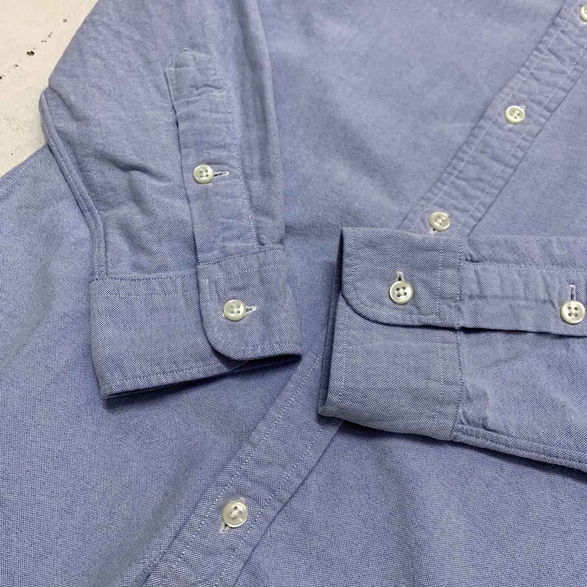 ラルフ ローレン Ralph Lauren オックスフォード シャツ Sサイズ SLIM FIT ブルー マチ付き 長袖 古着 ボタンダウン_画像4