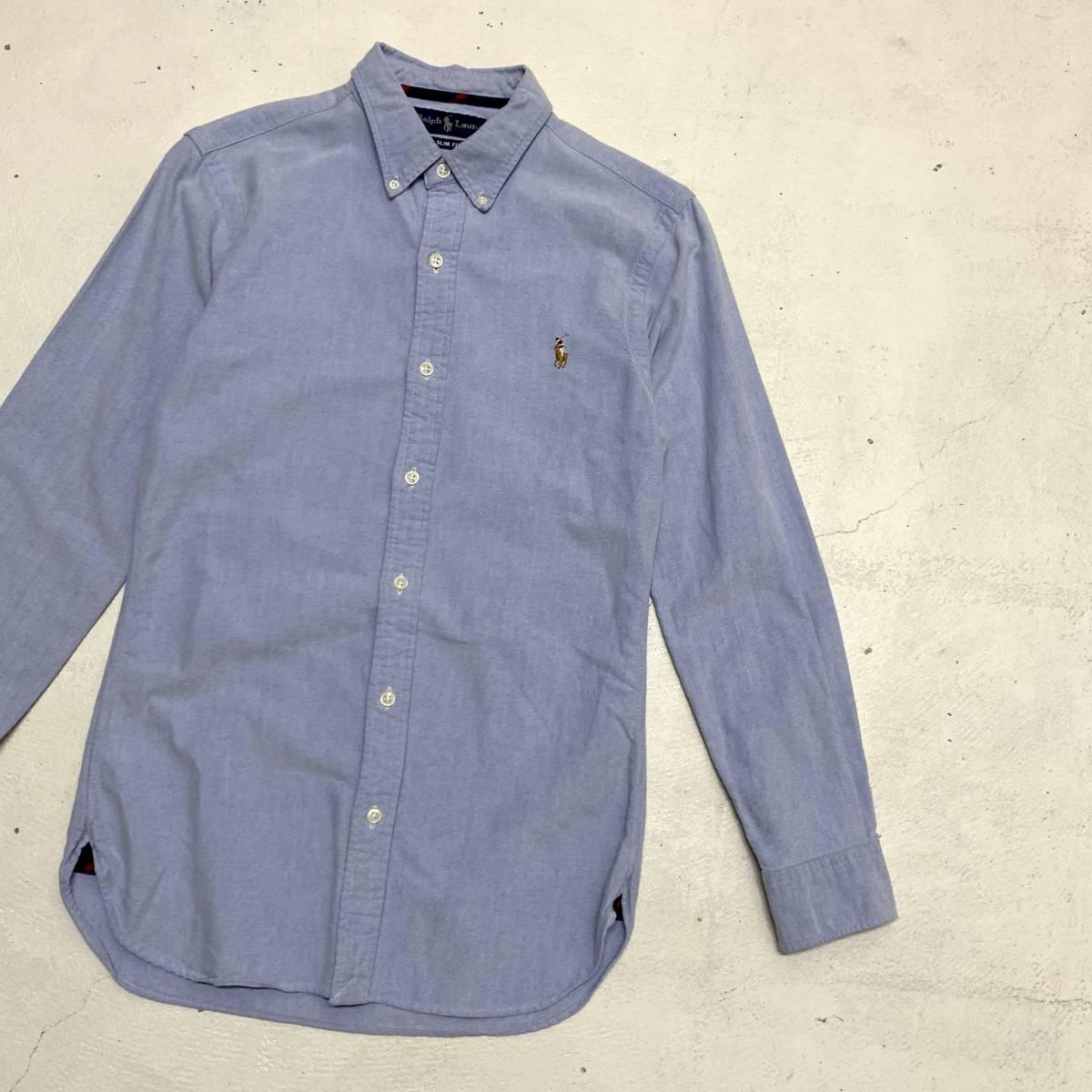 ラルフ ローレン Ralph Lauren オックスフォード シャツ Sサイズ SLIM FIT ブルー マチ付き 長袖 古着 ボタンダウン_画像1