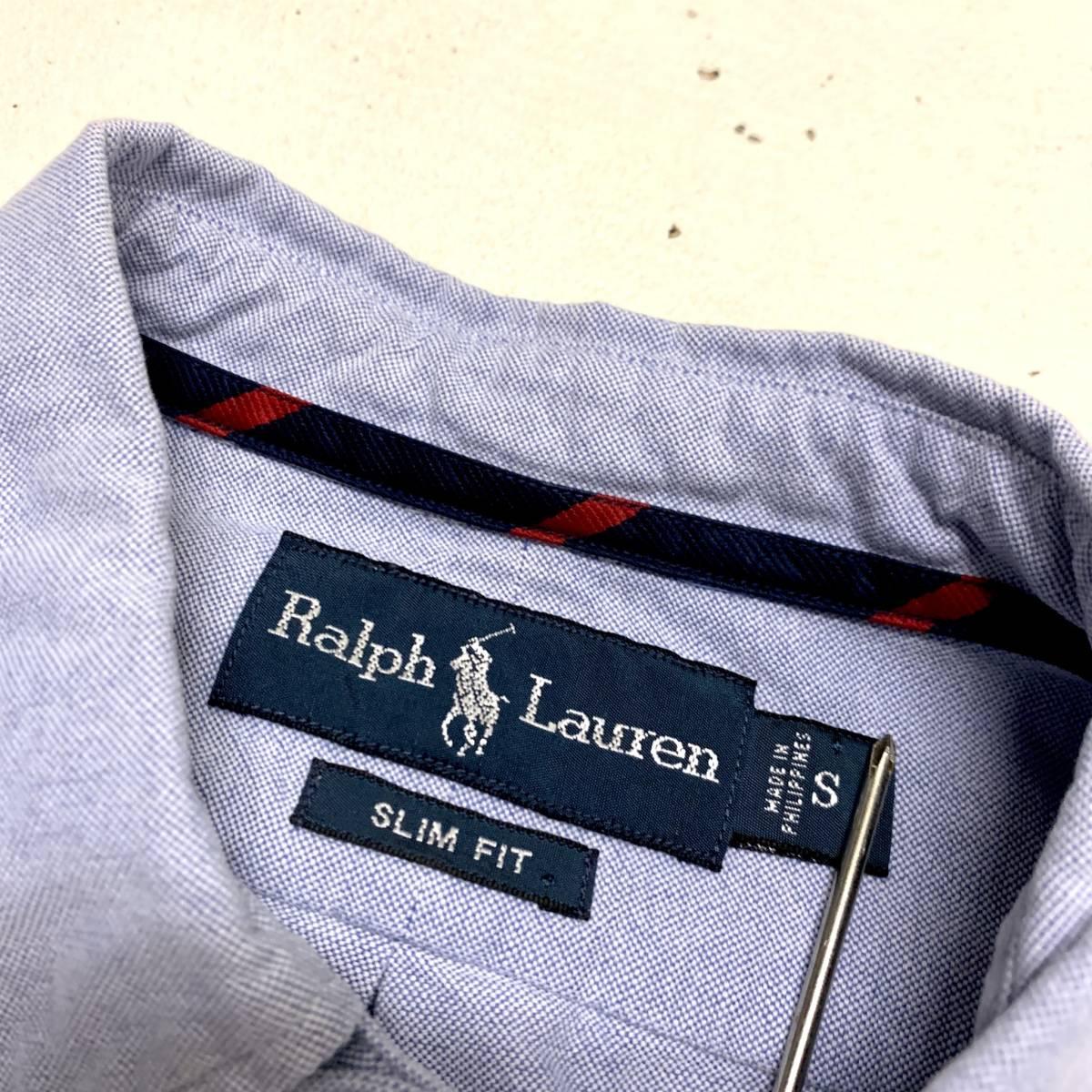 ラルフ ローレン Ralph Lauren オックスフォード シャツ Sサイズ SLIM FIT ブルー マチ付き 長袖 古着 ボタンダウン_画像2