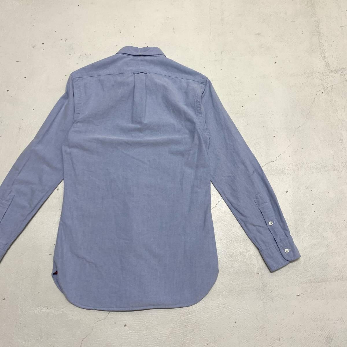 ラルフ ローレン Ralph Lauren オックスフォード シャツ Sサイズ SLIM FIT ブルー マチ付き 長袖 古着 ボタンダウン_画像6