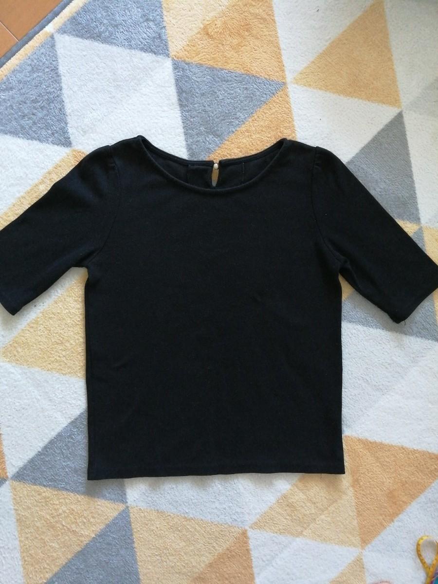 トップス 半袖 五分袖 黒 リブ