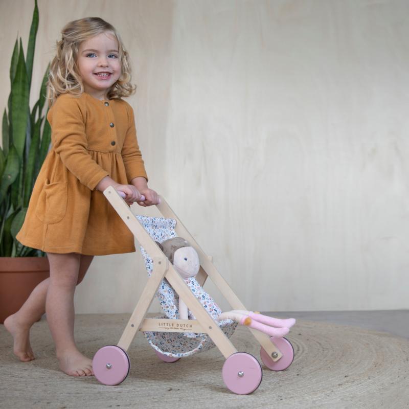 日本未発売【送料無料】新品未開封 ☆LITTLE DUTCH (リトルダッチ) 木製 お人形用ベビーカー ごっこ遊び 木のおもちゃ