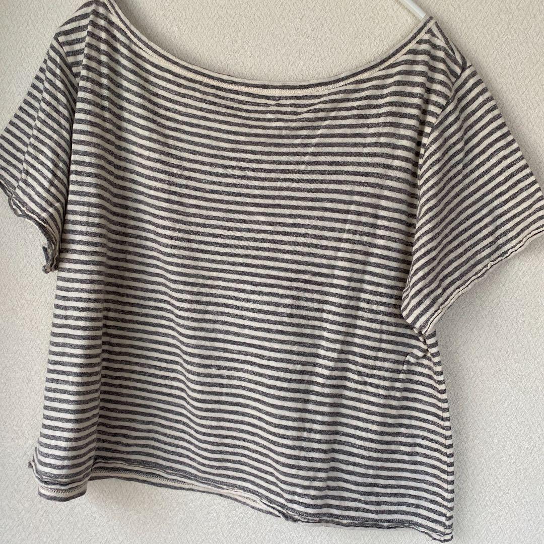 バナーバレット トップス カットソー 半袖 Tシャツ ボーダー グレー ホワイト