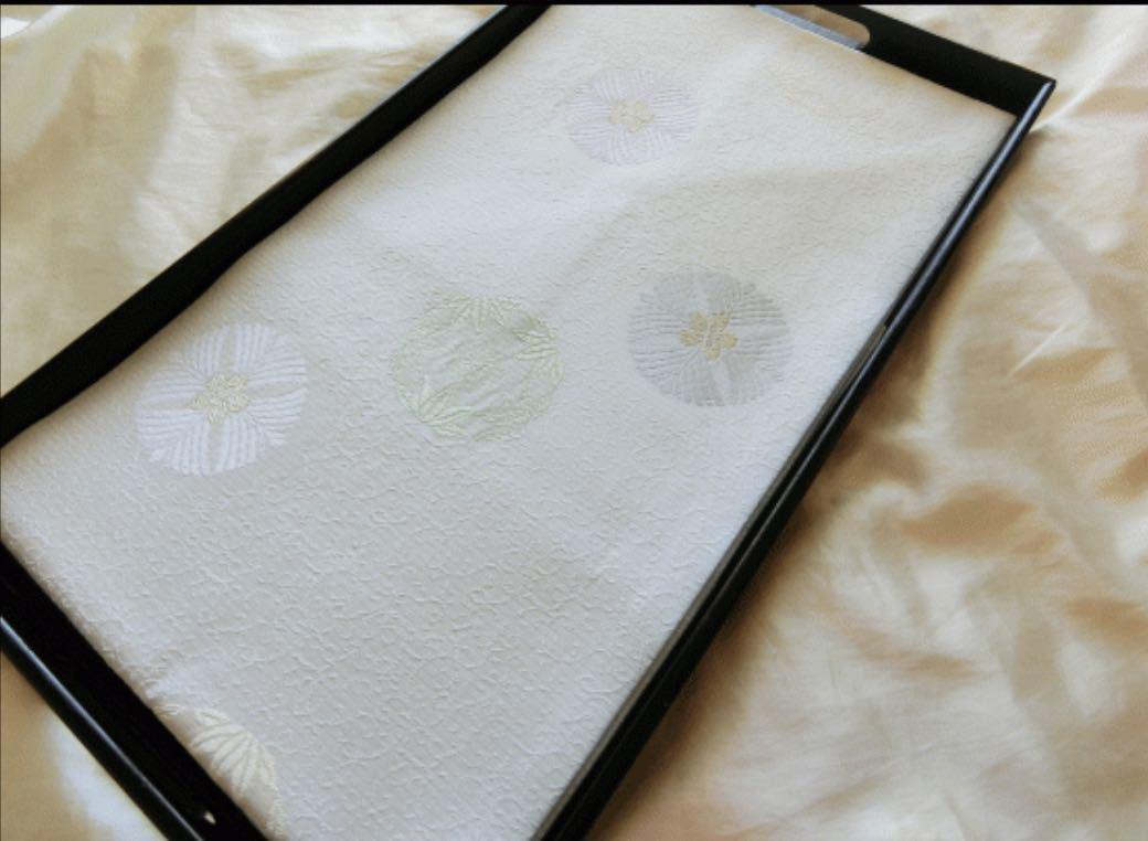 逸品□正絹□変わり絽□白緑地唐草古典有職文様夏名古屋帯□薄水色薄藤色薄緑白金銀