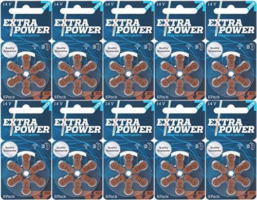 【送料無料/最終在庫】 EXTRA POWER 【2019年最新モデル】補聴器用空気電池 PR41(312) 10パック(60粒入り) 高品質 ドイツ製_画像1
