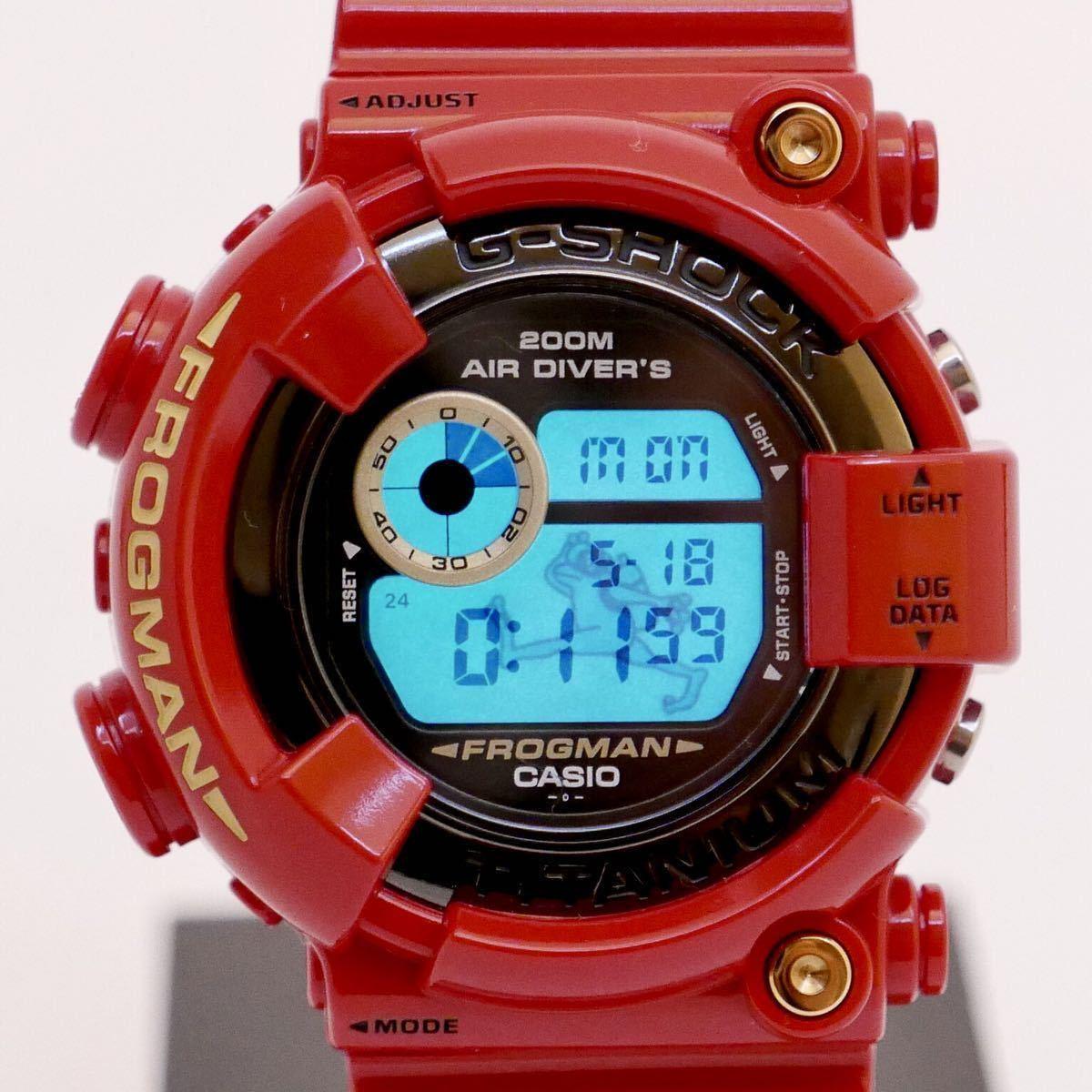 【極美品】シャイニーレッド ブラックフロッグマン DW-8200BM MIB2極美品モジュール GF-8230新品ベルベゼ カスタム DW-8201 8250シリーズ_電池交換したばかりで、バックライト明るい