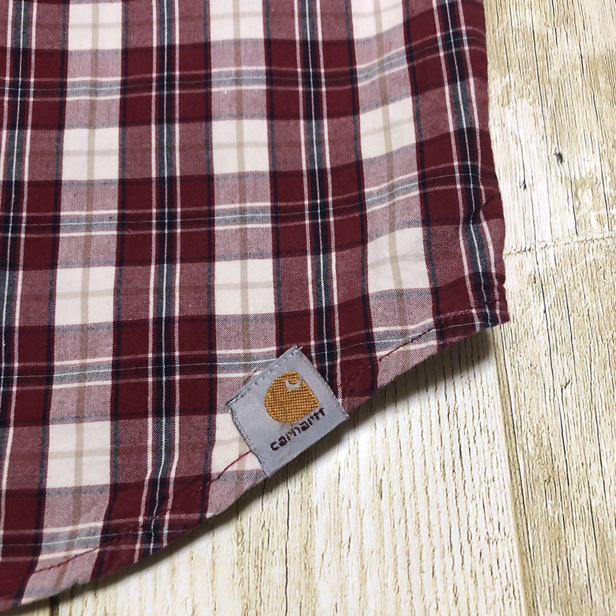 カーハート 刺繍ロゴ ロゴタグ ビッグシルエット チェック BDシャツ ボタンダウンシャツ チェックシャツ 半袖シャツ 2XL 古着