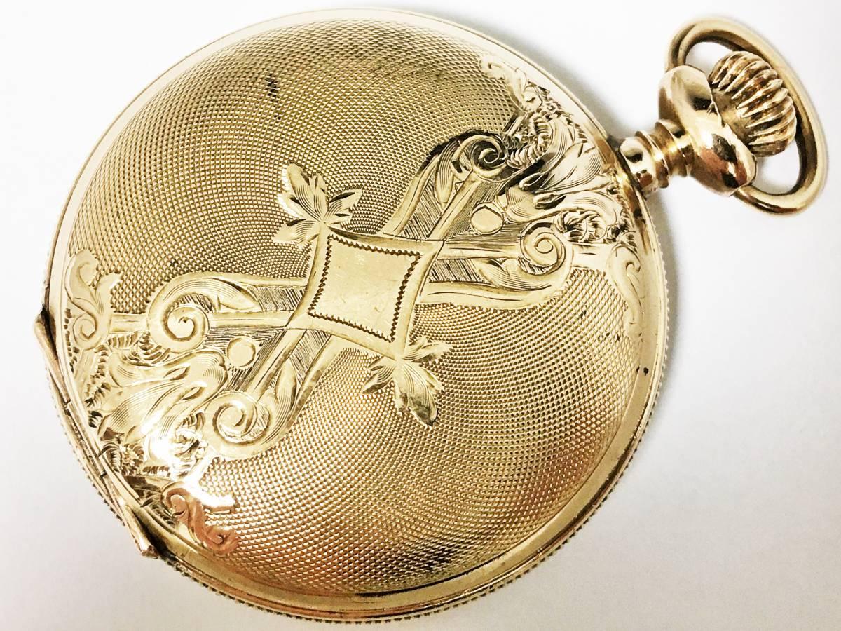 1901年製◆WALTHAM シーサイド 美彫金フルハンター 6S 7石 Gr,Seaside ウォルサム懐中時計◆美品