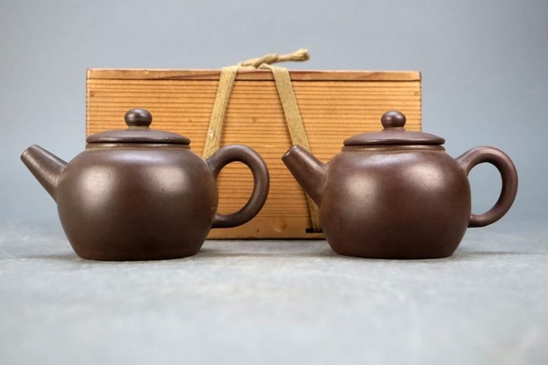 古い朱泥急須 鉄画軒製 一対 砲口紫砂 紫泥 唐物 茶壺 煎茶道具