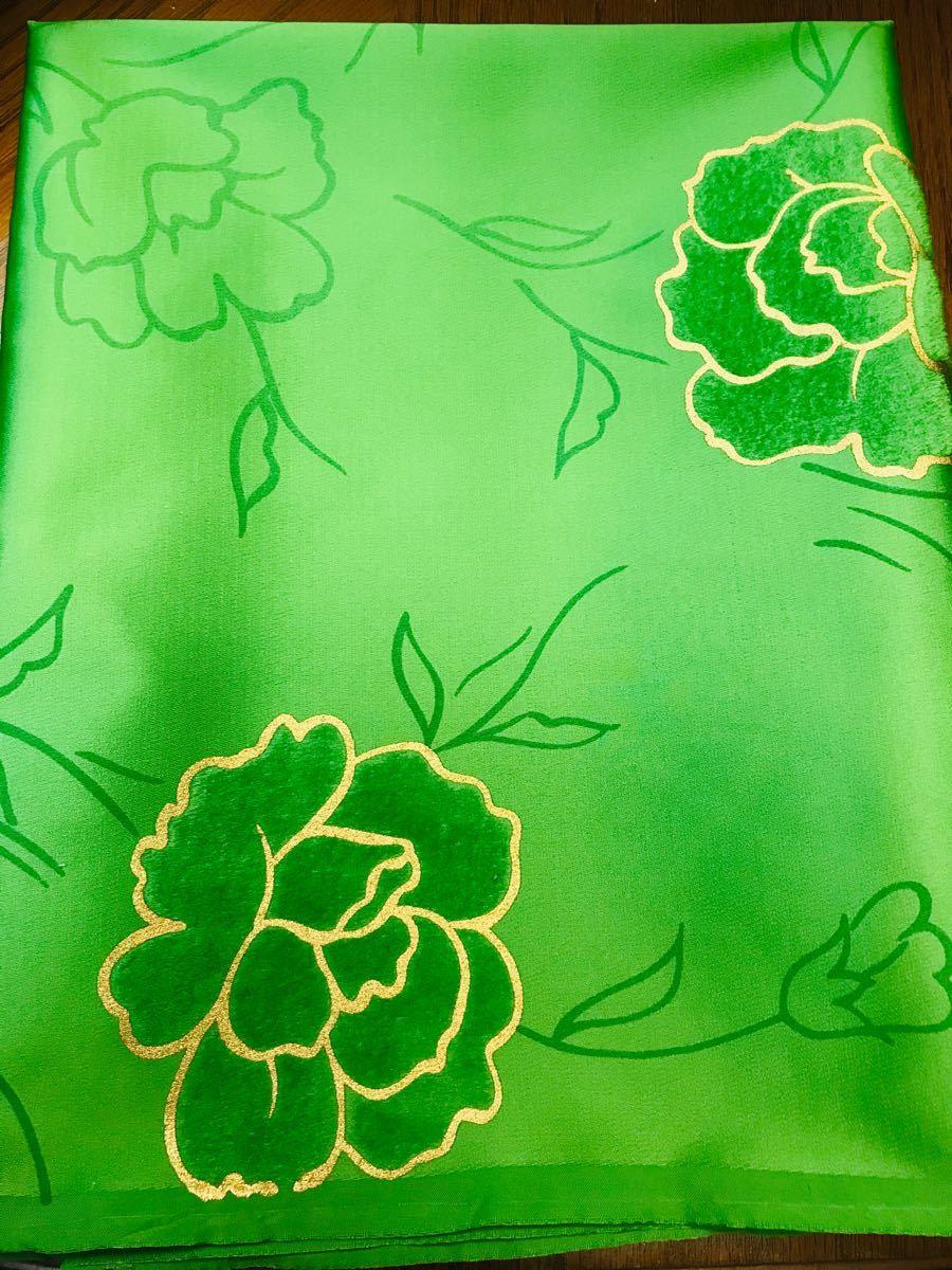 ハギレ ビビッドグリーン 薔薇