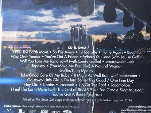 新品即決★Carole King(キャロル・キング)/Tapestry Live In Hyde Park(つづれおり ライヴ アット ハイド パーク 完全生産限定盤 CD+DVD_画像2