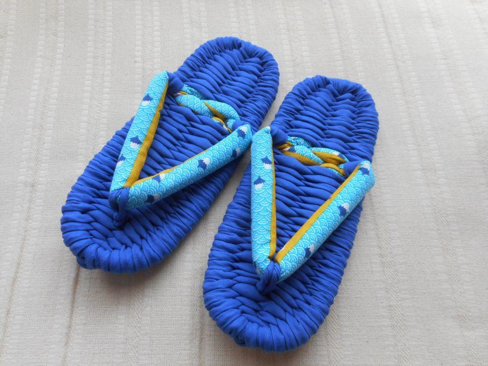 ◆手作り布ぞうり◆室内履き 22.5cm 青