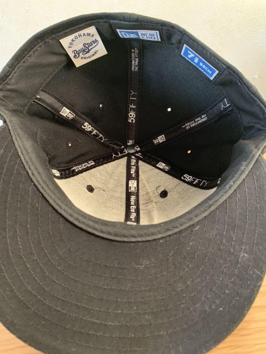 横浜ベイスターズ NEW ERA ニューエラ キャップ帽子 DeNA 7 3/8 ブラック 黒_画像5