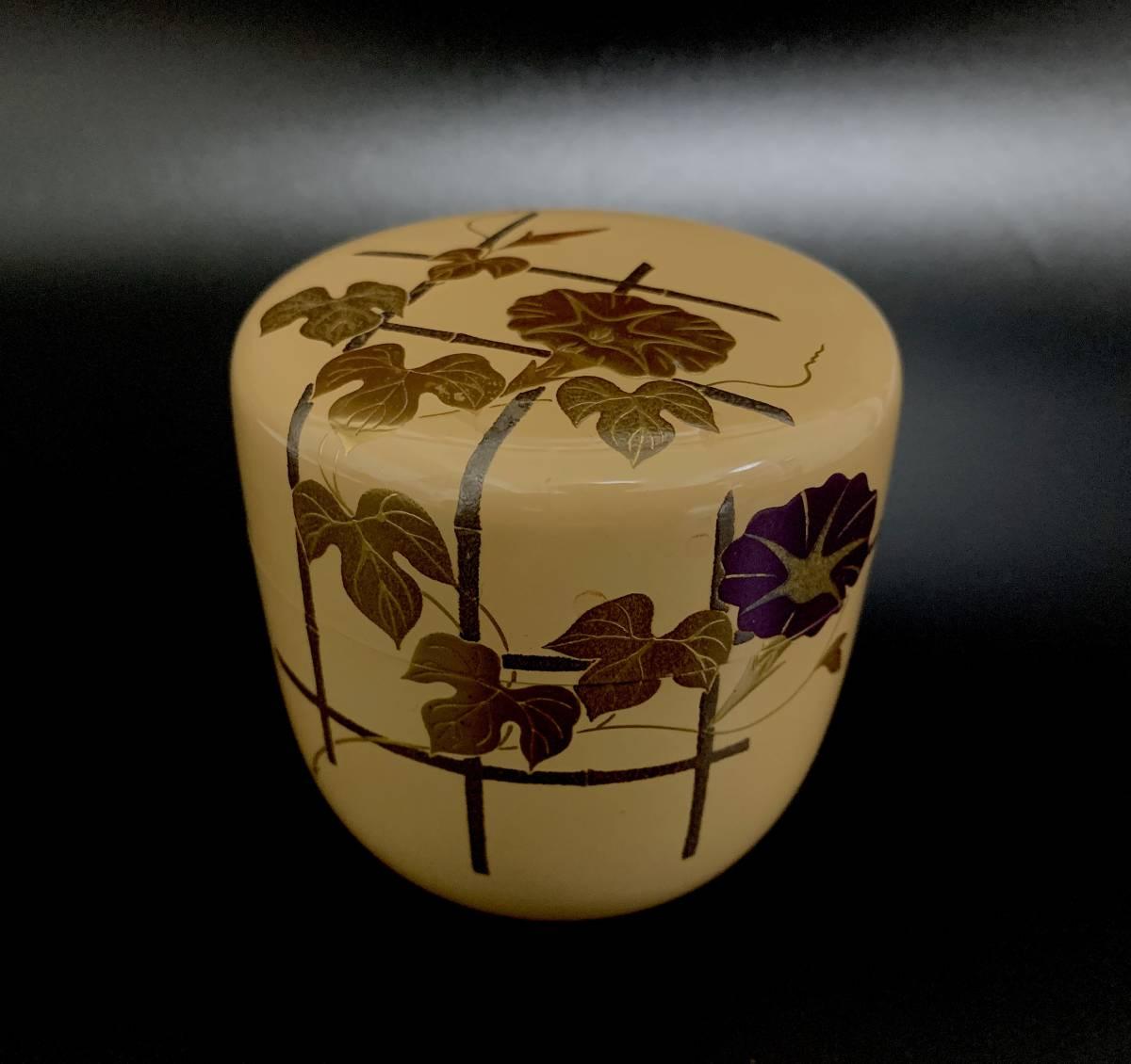 ◆坪井英憲(夕帆)作◆朝顔蒔絵 大棗 輪島塗 茶器 茶道具 共箱付き 伝統工芸品_画像2