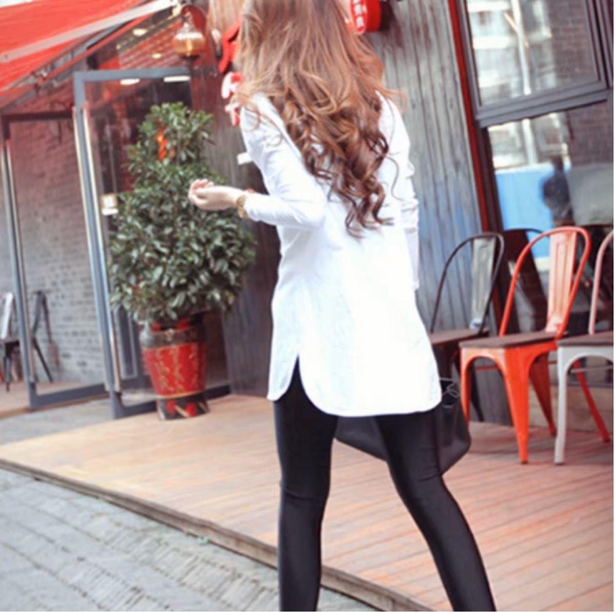 レディース 長袖 白 Tシャツ カットソー ラウンドカット カジュアル M