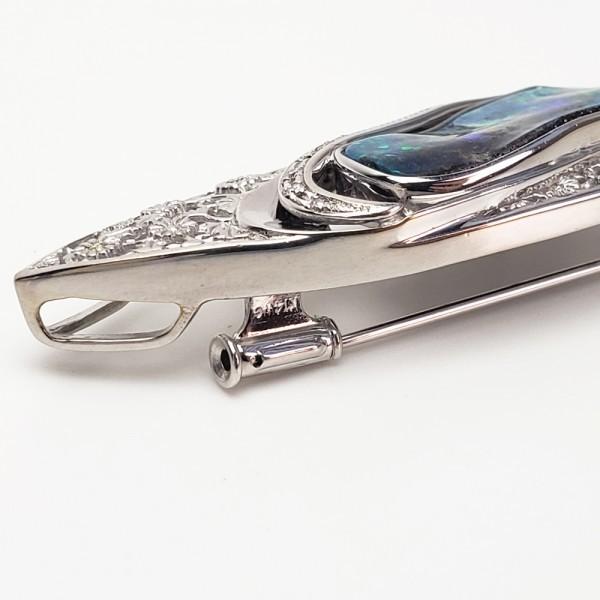 K18WG ボルダーオパール7.61ct ダイヤモンド ペンダント兼ブローチ 帯留 _画像8