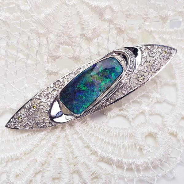 K18WG ボルダーオパール7.61ct ダイヤモンド ペンダント兼ブローチ 帯留 _画像2