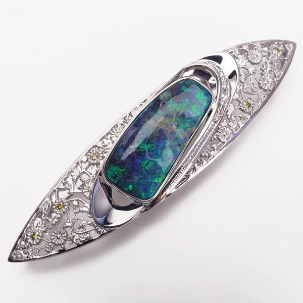 K18WG ボルダーオパール7.61ct ダイヤモンド ペンダント兼ブローチ 帯留 _画像4