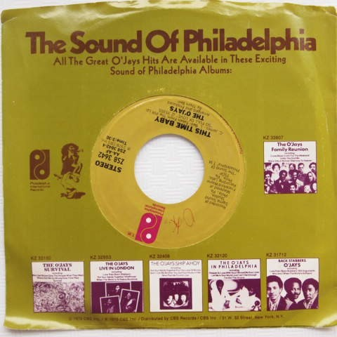 【US盤ソウルEP】The O'Jays / Use Ta Be My Girl / This Time Baby(PHILADELPHIA INTL.)ZS8 3642 1978年_画像2