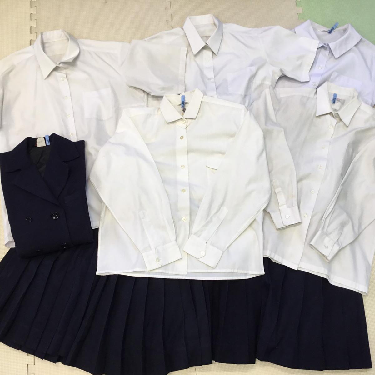 K278 (中古) 学生服 10枚セット /M/160/170/W62/W63/W66/半袖/長袖/ブラウス/ブレザー/スカート/制服/中学校/高校/女子学生/学生/学生服_画像1